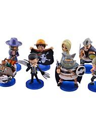 lindo de una pieza figuras de anime juguetes w / bases (8 piezas)