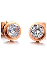 Women's Titanium Steel Rose Gold Diamond Earrings
