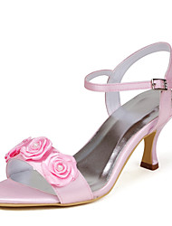 Satin Women's Wedding Spool Heel Open Toe Sandals With Rhinestone Shoes(More Colors)