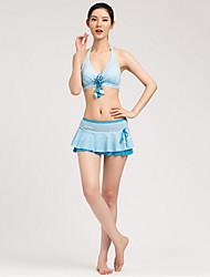 Sanqi Women's Sweet Girl Flowers Style Push-up Three Pieces Swim Dress Swimming Suit