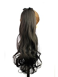 Heat Resistant Fiber Synthetic 22 Inch Long Wave Black Clip In Ribbon Ponytail