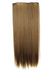 24 Inch 120g Long Synthetic Hairpiece Straight Clip In Hair Extensions with 5 Clips