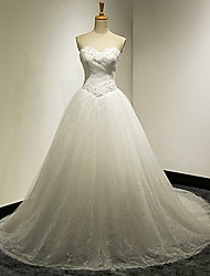 Ball Gown Wedding Dress - White & Champagne (color may vary by monitor) Court Train Sweetheart