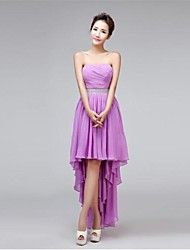 Asymmetrical Sweetheart Bridesmaid Dress - Elegant Sleeveless Chiffon