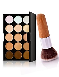 1Pc  Exquisite Natural Bamboo Handle Foundation Brush and 15 Colors Concealer