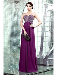 Formal Evening Dress - Grape Plus Sizes / Petite Sheath/Column Strapless / Sweetheart Floor-length Chiffon