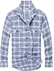 100% algodão de manga comprida casuais cheque engrossado camisa de flanela dos homens