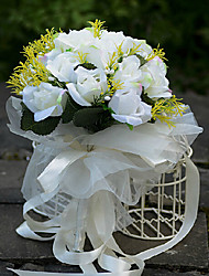 White Silk Rose Wedding Bouquet