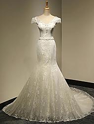 Trumpet/Mermaid Wedding Dress Chapel Train V-neck Tulle