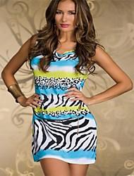 Women's Print Blue/Pink/Orange Dress , Sexy/Print Cowl Sleeveless