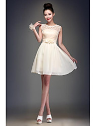 Knee-length Chiffon Bridesmaid Dress Ball Gown Jewel