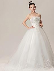 Ball Gown Wedding Dress - White Chapel Train Strapless Lace/Organza