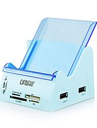 prise d'extension multifonction Centifly avec hub USB bleu lecteur de carte