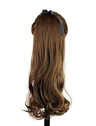 peruca sintética de alta qualidade de 22 polegadas clipe encaracolados longo rabo de cavalo em fita