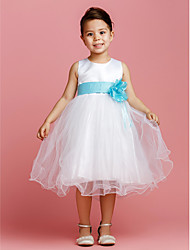 Ball Gown Tea-length Flower Girl Dress - Satin / Tulle Jewel with Bow(s) / Flower(s) / Sash / Ribbon