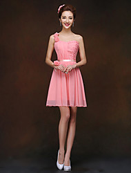 Short/Mini Chiffon Bridesmaid Dress - Watermelon Sheath/Column One Shoulder