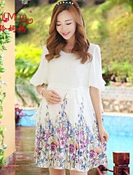 New summer Chiffon printing charge pressure crepe skirt positioning printed chiffon dress pregnant women