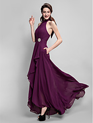 Asymmetrical Chiffon Bridesmaid Dress - Plus Size / Petite A-line High Neck