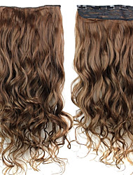 Women Synthetic Brown Hair Extension Curly
