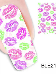 1PCS Colorful Lips Design Watermark Nail Art Stickers BLE2123