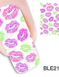 1pcs bunten Lippen Design Wassernagelkunstaufkleber ble2123