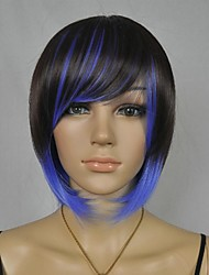 Women's Fashionable Short Black Blue Mix Cosplay Party Wigs with Side Bang