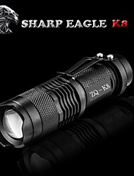 Sharp Eagle/ZQ-K8 3Mode Red light Cree XR-E Q5 Mini LED Flashlight(500LM.1X14500.Black)