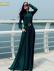 Women's Plus Size / Vintage Dress Maxi Long Sleeve Blue / Green Spring / Fall / Winter