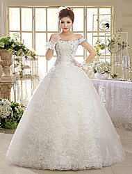 Ball Gown Off-the-shoulder Floor Length Lace Tulle Wedding Dress with Beading Sequin Appliques by QQC Bridal