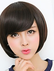 Capless Top Grade Synthetic Dark Brown Short Straight Bob Hairstyle Wig with Side Bang for Women