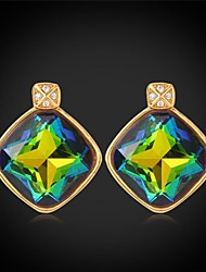Fancy Luxury Shiny Mystic Topaz SWA Rhinestone Fancy Stone Stud Earrings 18K Gold Plated Jewelry for Women High Quality