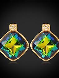 luxo extravagante brilhante topázio místico swa strass brincos de pedra extravagante do ouro 18k jóias para as mulheres de alta qualidade banhado