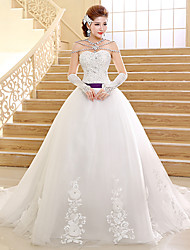 Ball Gown Wedding Dress Chapel Train Sweetheart Lace with