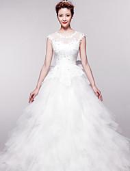 Ball Gown Chapel Train Wedding Dress -Jewel Organza