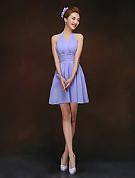 Short/Mini Bridesmaid Dress - Lavender Sheath/Column Halter