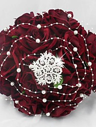 Deep Red Blossoming Fabric Roses with Pearl Weeding Bouquet