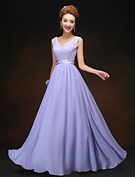 Sheath/Column Straps Floor-length Bridesmaid Dress