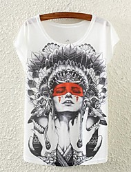 Women's Floral White T-shirt , Print Round Neck Short Sleeve