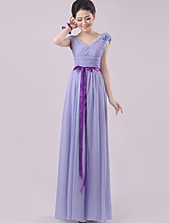 Floor-length Chiffon Bridesmaid Dress - Lavender Sheath/Column V-neck