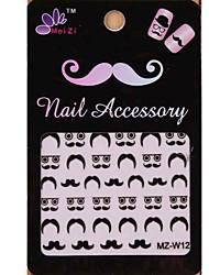 1PCS Cartoon Mustache Style Nail Art Stickers MZ Series MZ-W12