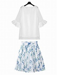 Women's Delicate Bodycon Printed Organza Dress Suits(Blouse & Skirt)
