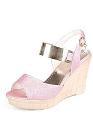 Sandalias ( Rosado/Blanco/Dorado Zapatos con plataforma/Punta abierta - Tacón Cuña - Cuero sintético - para MUJERES