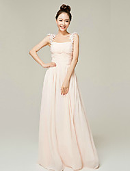 Formal Evening Dress - Blushing Pink A-line Square / Straps Floor-length Nylon Taffeta