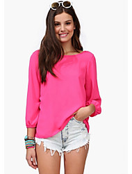 Luofusha Women's Fashion Solid Color All Match Solid Color Blouse