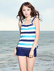 Sanqi Women's Sweet Nautical Stripe Four Pieces Push-up Bikini Swimming Suit
