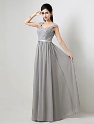 Formal Evening Dress - Silver Plus Sizes / Petite A-line Floor-length