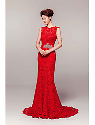 Formal Evening Dress - Ruby Sheath/Column Jewel Court Train Lace
