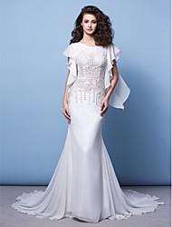Lan Ting Trumpet/Mermaid Wedding Dress - Ivory Chapel Train Jewel Chiffon