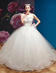 Ball Gown Wedding Dress - White Floor-length Square Organza