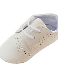 Boys' Baby Flats First Walkers Crib Shoes Leatherette Spring Fall Winter Casual First Walkers Crib Shoes Lace-up Flat Heel White Brown